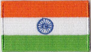 India Embroidered Flag Patch, style 04.